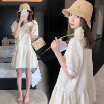 Dress Terry Kennedy Apricot M,L,XL,XXL Korean version Short sleeve Medium length Crew neck Solid color nylon TK-91201
