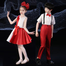Children's performance clothes Red and white women's sleeveless red and white women's sleeveless + pantyhose red and white men's short sleeve neutral Kubi Island Class B China classic dance Polyester 100% polyester fiber Spring 2021 Chinese style