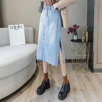 skirt Autumn 2020 S M blue Mid length dress commute High waist skirt Solid color Type H 30-34 years old Denim side split skirt xpg9352 knitting Xia Yang Korean version Pure e-commerce (online only) 351g / m ^ 2 (including) - 400g / m ^ 2 (including)