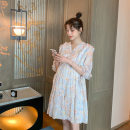 Dress VSETAMELLE Main graph color M,L,XL,XXL Korean version Short sleeve Medium length summer V-neck Decor Chiffon