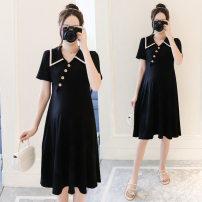 Dress VSETAMELLE Main graph color M,L,XL,XXL,XXXL Korean version Short sleeve Medium length summer Lapel Solid color Pure cotton (95% and above) 1430&