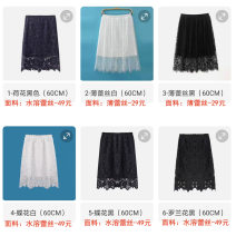 skirt Spring 2021 S,M,L,XL,2XL,3XL 1-lotus black (60cm), 2-thin lace white (60cm), 3-thin lace black (60cm), 4-butterfly white (60cm), 5-butterfly black (60cm), 6-roland black (60cm) Middle-skirt Sweet High waist Fluffy skirt Solid color Type H Lace 201g / m ^ 2 (including) - 250G / m ^ 2 (including)