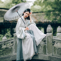 Hanfu 96% and above Summer of 2019 Inner and outer shangru + 12 broken cross skirt suit spot sell out of print outer shangru spot sell out of print inner shangru spot sell out of print 12 broken cross skirt spot sell out of print S M L polyester fiber