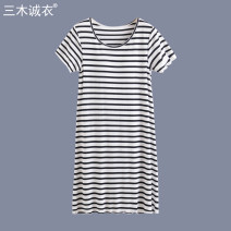 Nightdress 160(M) 165(L) 170(XL) Simplicity Short sleeve Leisure home Middle-skirt summer stripe youth Crew neck viscose  Lotus leaf edge 81% (inclusive) - 95% (inclusive) S307 Summer 2020 Viscose fiber (viscose fiber) 95% polyurethane elastic fiber (spandex) 5% Pure e-commerce (online only)