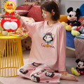 Pajamas / housewear set female Other / other cotton Long sleeves Sweet pajamas spring routine Crew neck Cartoon animation trousers Socket youth 2 pieces rubber string More than 95% pure cotton printing 220g Middle-skirt