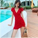 one piece  S,M,L,XL,XXL Skirt one piece Steel strap breast pad Nylon, spandex, others female Short sleeve Casual swimsuit Pleating