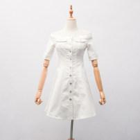 Dress Summer 2020 White, black, blue XS,S,M,L,XL Short skirt Sweet One word collar solar system