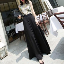 Casual pants Black, lotus root Summer 2020 trousers Wide leg pants High waist commute Thin money Other / other