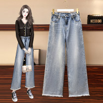 Jeans Spring 2021 JFL - 2F070 - eight thousand one hundred and forty-two - Picture color S M L XL 2XL 3XL 4XL trousers High waist Straight pants 25-29 years old Coated denim Fajuemong Other 100% Pure e-commerce (online only)