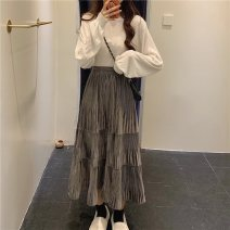 skirt Autumn 2020 Average size Gray, black, for wholesale customers only Mid length dress commute High waist Cake skirt Solid color 18-24 years old 51% (inclusive) - 70% (inclusive) Other / other Korean version