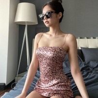 Dress Summer 2020 Pink S,M,L Short skirt singleton  Sleeveless street One word collar High waist Leopard Print Socket One pace skirt routine camisole 18-24 years old Type H Backless, stitched, printed D200576 81% (inclusive) - 90% (inclusive) polyester fiber Europe and America