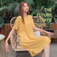 Dress Summer 2020 Average size Mid length dress singleton  Short sleeve commute Crew neck Loose waist Solid color Socket One pace skirt routine Others 25-29 years old Type H 81% (inclusive) - 90% (inclusive) polyester fiber Polyester fiber 86.8% polyurethane elastic fiber (spandex) 13.2%