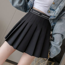 skirt Autumn of 2019 S M L XL 2XL Grey black Short skirt Versatile High waist Pleated skirt Solid color Type A 18-24 years old LFS599 More than 95% Rivenza other fold Other 100% Pure e-commerce (online only)