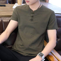 T-shirt Youth fashion Green 9810, black 9810, khaki 9810, white 9810, green 9802, black 9802, khaki 9802, white 9802 routine M. L, XL, XXL, XXL Others Short sleeve V-neck Extra wide Other leisure summer ZY154 Cotton 70% polyamide 30% youth routine tide Solid color Button decoration Chinese culture