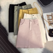 skirt Summer 2021 S,M,L,XL Black, yellow, fruit green, beige, pink Short skirt commute High waist A-line skirt Type A 18-24 years old 51% (inclusive) - 70% (inclusive) Other / other Button, zipper Korean version