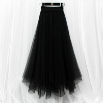 skirt Summer 2021 S,M,L,XL,2XL,3XL,4XL,5XL Black, apricot, coffee, black short - 76cm, black outside and white inside, small star Sequin, black blue, pure white, 2 layers of yarn with bright silk lining longuette Versatile High waist Irregular Solid color Type A Other / other