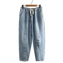 Middle aged and old women's wear Autumn 2020 6007 denim, 6007 black XL [recommended 115-135 kg], 2XL [recommended 135-155 kg], 3XL [recommended 155-175 kg], 4XL [recommended 175-200 kg] commute Jeans easy singleton  Solid color 50-59 years old moderate Other / other Button Denim, cotton, other