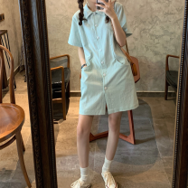 Dress Summer 2020 Light green S M L XL Mid length dress singleton  Short sleeve commute Polo collar High waist Solid color other A-line skirt routine 18-24 years old Princess of song and picture Korean version More than 95% other Other 100% Pure e-commerce (online only)