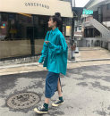 shirt Lake blue shirt S M L XL 2XL Autumn 2020 other 96% and above Long sleeves commute Medium length stand collar Single row multi button Solid color 18-24 years old Straight cylinder Princess of song and picture Korean version Other 100% Pure e-commerce (online only)