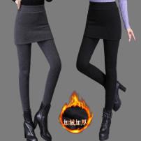 Leggings Winter 2020 Dark grey, black M,L,XL,2XL,3XL,4XL Plush trousers 18-24 years old CINISIOR polyester fiber 71% (inclusive) - 80% (inclusive)