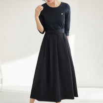 Dress Spring 2021 black XS,S,M,L,XL Mid length dress singleton  Long sleeves commute Crew neck middle-waisted Solid color Socket other routine Others 30-34 years old Type H More than 95% cotton