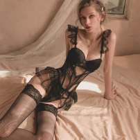 Body shaping suit crystal clear Black (tunic, open t-pants, garter) black (tunic, open t-pants, garter + stockings) M L camisole Thin money Solid color sexy CC-507 nylon Netting Lace lace Spring 2021 Polyamide fiber (nylon) 92% polyurethane elastic fiber (spandex) 8%