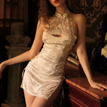 Nightdress crystal clear White black 160(M) 165(L) sexy pajamas Short skirt Solid color youth stand collar Polyester (polyester) Hollowing out More than 95% Satin 200g and below Winter 2020 Polyester 98% polyurethane elastic fiber (spandex) 2%