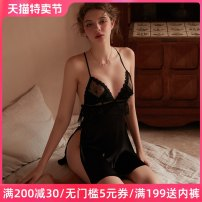 Nightdress crystal clear Black and white 160(M) 165(L) sexy camisole pajamas Short skirt Solid color youth V-neck nylon bow 81% (inclusive) - 95% (inclusive) Iced silk CC-484 200g and below Winter 2020 Polyamide fiber (nylon) 92% polyurethane elastic fiber (spandex) 8%
