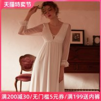 Nightdress crystal clear White (Fairy nightdress, detachable BRA) 155(S) 160(M) 165(L) 170(XL) sexy Long sleeves pajamas longuette Solid color youth V-neck nylon Hollowing out 81% (inclusive) - 95% (inclusive) Mesh fabric CC-491 Winter 2020