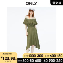 Dress Summer 2020 C11 hole stone Brown transit E05 deep olive night 155/76A/XS 160/80A/S 165/84A/M 170/88A/L 175/92A/XL Middle-skirt singleton  Short sleeve Sweet One word collar Elastic waist Solid color Socket Irregular skirt Sleeve Breast wrapping 18-24 years old ONLY More than 95% polyester fiber