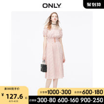 Dress Summer 2020 H28 black white m check HA1 red checkerboard print flame scallet picnic AOP 155/76A/XS 160/80A/S 165/84A/M 170/88A/L 175/92A/XL Middle-skirt singleton  Short sleeve commute One word collar Elastic waist lattice Socket A-line skirt routine 18-24 years old ONLY Retro cotton