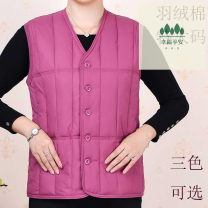 Vest Winter of 2019 Violet, grape purple, skin red L,XL,2XL,3XL,4XL,5XL,6XL routine V-neck commute Solid color Single breasted Other / other 96% and above cotton Pocket, button cotton