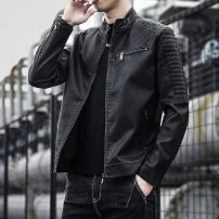 leather clothing Others Youth fashion Black, blue, jujube M,L,XL,3XL,XXL have cash less than that is registered in the accounts Leather clothes stand collar Slim fit zipper winter leisure time youth Sheepskin tide Cloth hem Zipper bag Arrest line No iron treatment