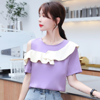 Lace / Chiffon Summer 2020 Black Purple S M L XL 2XL Short sleeve commute Socket singleton  Straight cylinder Regular Crew neck Solid color other 25-29 years old Elegy of plain hands Retro Other 100% Pure e-commerce (online only)