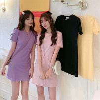 Women's large Summer 2020 Purple Yellow Black Pink L XL M T-shirt singleton  commute Self cultivation moderate Socket Short sleeve Solid color Korean version Crew neck Medium length cotton routine DSX2029 Love of Ou Ke 18-24 years old 91% (inclusive) - 95% (inclusive) Exclusive payment of tmall