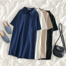 Women's large Summer 2020 Black white blue Khaki L XL M Dress singleton  commute moderate Socket Short sleeve Solid color Korean version Polo collar cotton printing and dyeing routine EIUC59950 Love of Ou Ke 18-24 years old Button 96% and above Medium length Cotton 100% Pure e-commerce (online only)