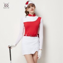 Golf apparel The top is red, the top is royal blue, the skirt is white, and the pleated skirt is white S,M,L,XL,XXL female BG Long sleeve T-shirt BG21017223