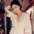 Nightdress Liu Meiren Liu Yuyi Off white 155(S),160(M),165(L),170(XL) luxurious three quarter sleeve pajamas Middle-skirt autumn Solid color youth V-neck silk lace 81% (inclusive) - 95% (inclusive) silk Two piece elastic silk nightgown 200g and below