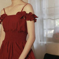 Dress Summer 2020 Black, berry red S,M,L Mid length dress singleton  Sleeveless Sweet One word collar Elastic waist Solid color zipper A-line skirt other camisole 18-24 years old Type A Pleats, zippers, straps B20 51% (inclusive) - 70% (inclusive) other cotton princess