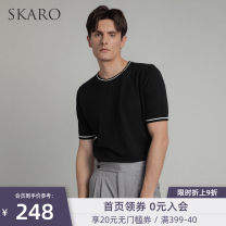 T-shirt Fashion City Black skt161 is a fit product. Please contact customer service to confirm the size before placing the order thin S M L XL SKARO Short sleeve Crew neck Self cultivation Other leisure summer SKT161 Cotton 95% Cashmere (cashmere) 5% youth tide Summer 2021 Solid color cotton