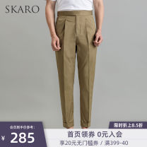 Casual pants SKARO Business gentleman S M L XL XS routine Ninth pants Other leisure Self cultivation spring youth Business Casual 2019 Little feet Cotton 97% polyurethane elastic fiber (spandex) 3% Solid color cotton Summer of 2019 More than 95%