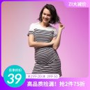 Dress Zi (mother and baby) Black and white stripes S M L leisure time Short sleeve Medium length summer Lapel stripe modal  Z19SS22D139