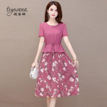 Women's large Summer 2020 Purple red black M L XL 2XL 3XL 4XL Dress Two piece set commute Self cultivation thin Socket Short sleeve Broken flowers Korean version Crew neck other printing and dyeing routine TYN301153. Tiyunna 40-49 years old 96% and above Medium length Polyester 100%