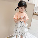 Dress Orange Black female Mommy young (clothing) 90cm 100cm 110cm 120cm 130cm Cotton 100% summer princess Short sleeve Dot cotton Cake skirt Summer cake dot dress Class B Summer 2020 12 months 18 months 2 years 3 years 4 years 5 years old