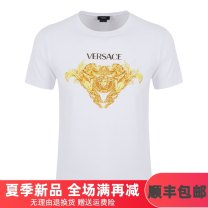 T-shirt Youth fashion White black routine XXL XXXL S M L XL Versace / Versace Short sleeve Crew neck Self cultivation Other leisure summer A79695 Cotton 100% youth routine tide Summer 2021 Geometric pattern printing cotton Figure pattern No iron treatment International brands More than 95%