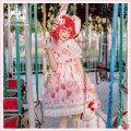 Dress Spring 2021 L,M,S Mid length dress singleton  Sleeveless Sweet High waist Hand painted Princess Dress camisole 18-24 years old Type A Cat highness Bow, ruffle, print 81% (inclusive) - 90% (inclusive) other polyester fiber Lolita