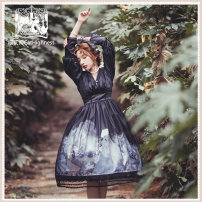 Dress Spring 2021 Blue OP, black op L,M,S,XL Mid length dress singleton  Long sleeves Sweet V-neck Hand painted Princess Dress routine Others 18-24 years old Type A Cathighness Bows, ruffles, lace, prints 81% (inclusive) - 90% (inclusive) other polyester fiber Lolita