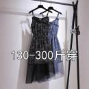 Dress Summer 2021 Blue, black 2XL,3XL,4XL,5XL,6XL Mid length dress singleton  Sleeveless commute Broken flowers camisole 25-29 years old Other