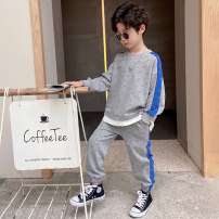 suit Colorful banner grey 100cm 110cm 120cm 130cm 140cm 150cm 160cm male spring and autumn Korean version Two piece set 2 pieces routine There are models in the real shooting Socket nothing Solid color other children Expression of love K211TZ006 Class B Other 100% Spring 2021 Chinese Mainland