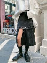 skirt Autumn of 2019 XS,S,M,L Carbon grey Mid length dress commute High waist A-line skirt Type A Denim removable